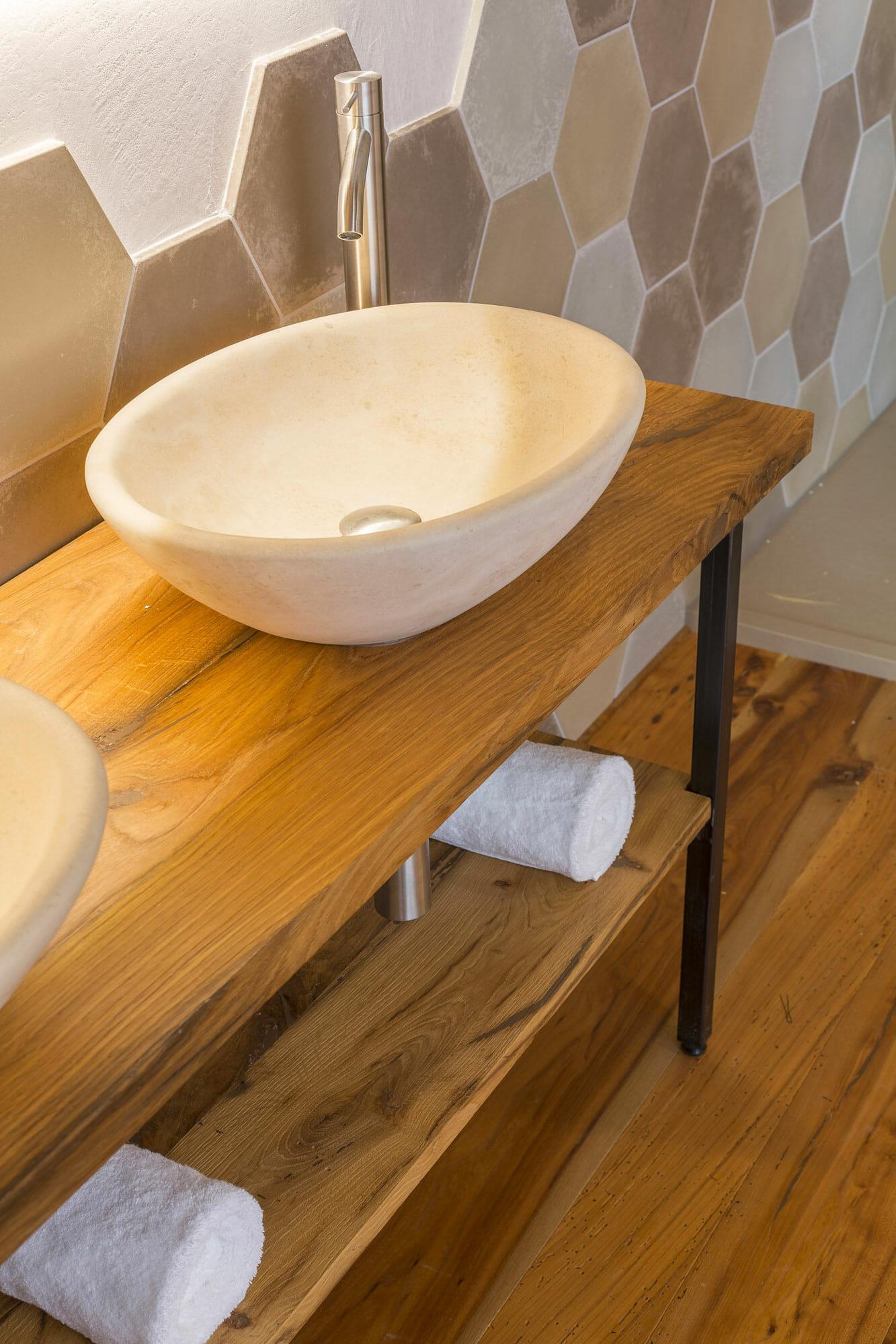 Mobile bagno in rovere antico di recupero 2° patina massiccio